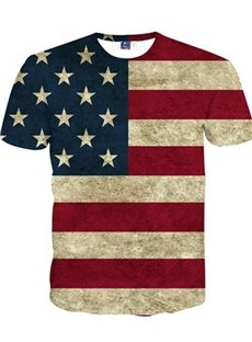 Popular American Flag Pattern 3D Painted T-Shirt
