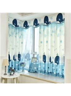 Cute Cartoon Dolphin Printed Grommet Top Custom Curtain