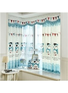 Cute Cartoon Owl Printed Grommet Top Custom Curtain