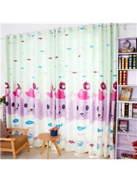 Cute Cartoon Cat Printed Grommet Top Custom Curtain