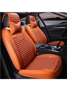 Popular Orange Solid Style Design With Good Permeability Flax Material Universal Five Car Seat Cover