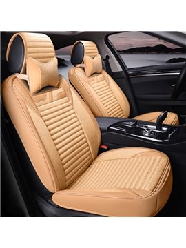 Fashion Beige Solid Style Design With Good Permeability Flax Material Universal Five Car Seat Cover