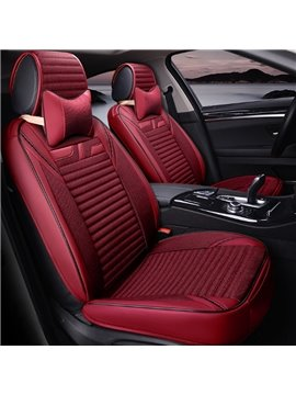 Charming Red Style With Good Permeability Flax Material Universal Five Car Seat Cover