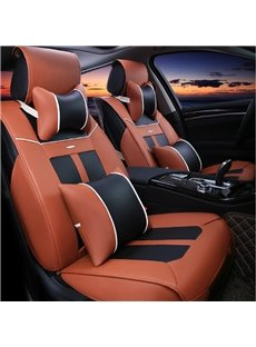 Classic Coffee Black Contrast Color Design Durable PU Leather Material Universal Five Car Seat Cover