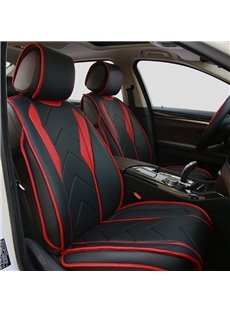 Classic Red With Black Mixing Unique Sport Design Real Leather Material Universal Five Car Seat Cover