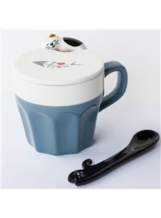 Blue and White Ceramic Cute Cat Decoration Home Coffee Mug