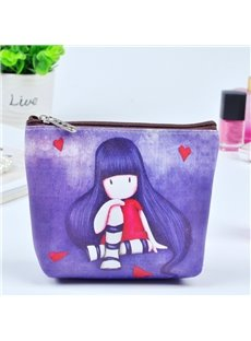 Purple Long Hair Girl Painting Women Makeup Bag Coin Wallet Purse