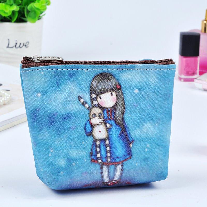 Blue Cartoon Girl Painting Women Makeup Bag Coin Wallet Purse (12730450) photo