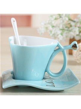 Simple Style Blue Lovely Heart Shape Ceramic Coffee Mugs Set
