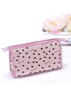 Contemporary Pink Zipper Clutch Cosmetic Bags