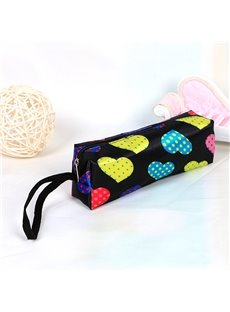Black Heart-Shaped Pattern Pen Pencil Case Coin Purse Cosmetic Bag