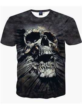 Special Round Neck Skull Pattern Black 3D Painted T-Shirt