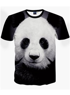 Cute Round Neck Panda Pattern Black 3D Painted T-Shirt