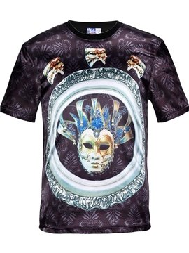 Round Neck Mask Pattern Black 3D Painted T-Shirt
