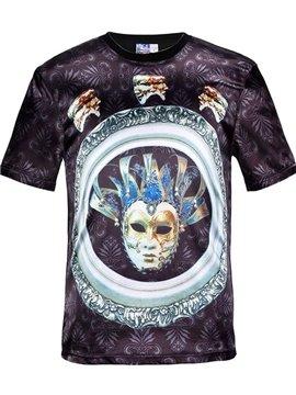 Round Neck Mask Pattern Black 3D Painted T-Shirt