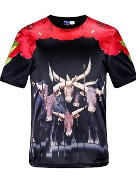 Special Round Neck Many Cows Pattern Black 3D Painted T-Shirt