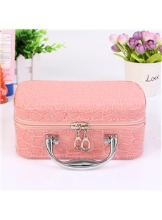 Pink Single Layer PU Portable Cosmetic Bags with Mirror