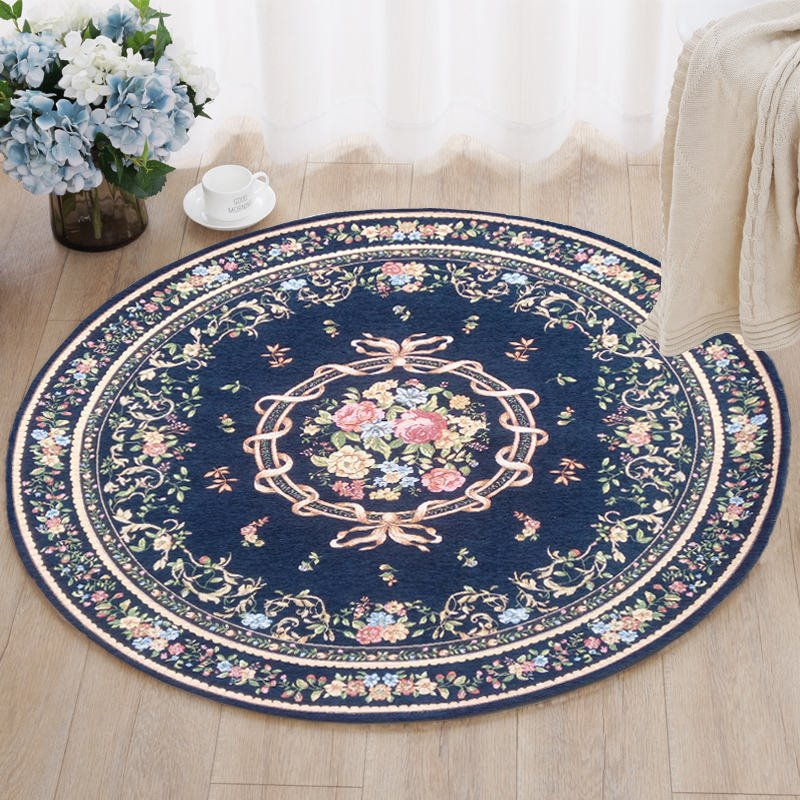 Round Country Style Flower Pattern Design Skid Resistance