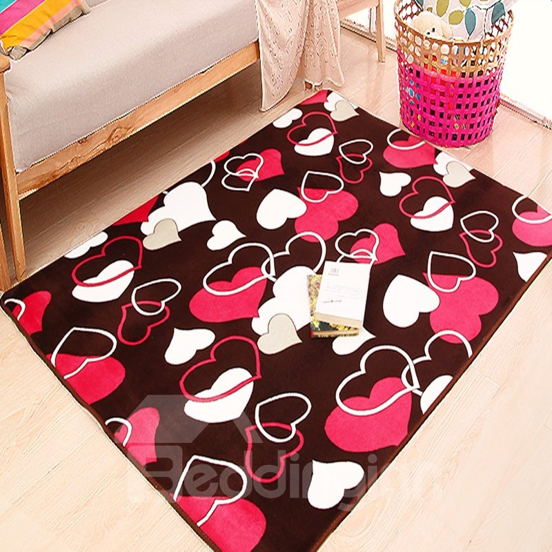 Washable Rugs Pink: Rectangle Lovely White And Pink Heart Pattern Washable