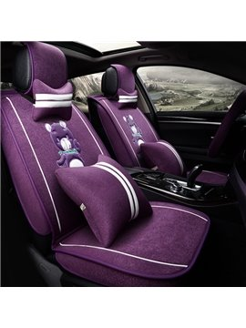 Charming Mixed Material Velvet With Flax High-Grade Little Bear Universal Car Seat Cover