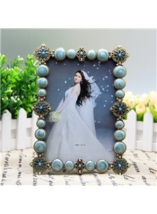 Elegant Blue Flowers and Artificial Diamonds Decoration Desktop Photo Frame