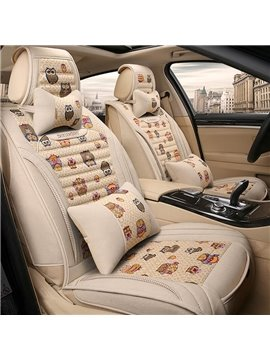 Joy Of Spring Pattern Creative Design Good Permeability Flax Material Universal Five Car Seat Cover