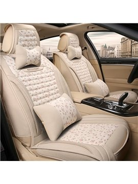 Modern Simple Design Good Permeability Flax Material Universal Five Car Seat Cover