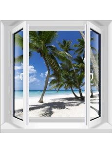 Modern Design Coconut Palm Seaside Scenery Home Decorative 3D Wall Stickers