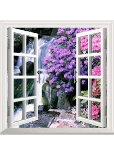 Natural Waterfall and Flower Window Scenery Decorative 3D Wall Stickers