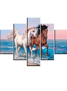 Fancy Two Lovely Horse Pattern Design 5 Pieces None Framed Wall Art Prints