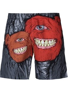 Cool Abstract Smile Pattern Dark Grey 3D Beach Shorts