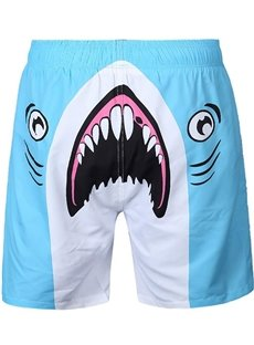 lovely Cartoon Shark Pattern Sky Blue 3D Beach Shorts