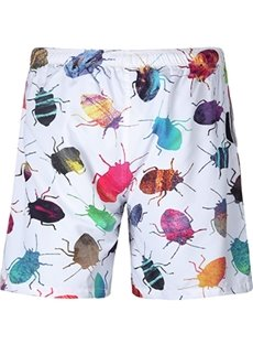 Unique Colorful Insects Pattern White 3D Beach Shorts