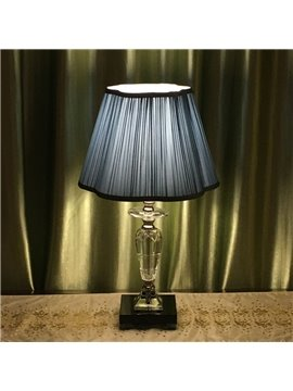 Modern Simple Style Blue Fabric Lampshade and Crystal Lampstandard Decorative Table Lamp