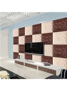 Decorative White and Coffee Plaid Pattern Living Room Decoration Wall Murals