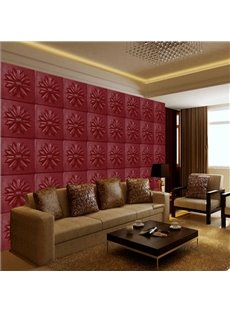 Modern Fashion Wine Red Flower Plaid Pattern Simple Style Wall Murals