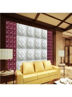 Marvelous White Three-dimensional Plaid with Wine Red Decoration Wall Murals