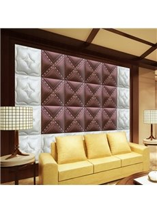 Delicate White and Wine Red Three-dimensional Plaid Pattern Wall Murals
