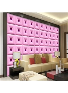 Lovely Pink Three-dimensional Square Plaid Pattern Home Decorative Wall Murals