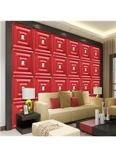 Wonderful Simple Style Red Plaid Pattern Living Room Decoration Wall Murals