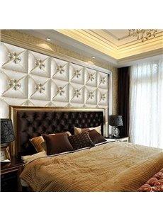White Elegant Three-dimensional Square Plaid Design Decorative Wall Murals