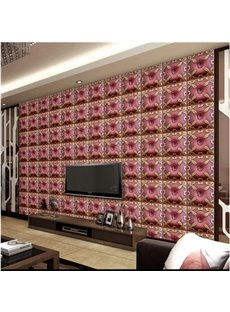 Elegant Design Red Three-dimensional Plaid Design Living Room Decoration Wall Murals