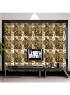 Fancy Vivid Flowers Plaid Pattern TV Background Decorative Wall Murals