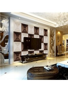 White and Coffee Three-dimensional Plaid Design Home Decorative Wall Murals