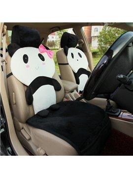 Lovely Panda Pattern Design Soft Short Plush Material Universal Car Seat Cover