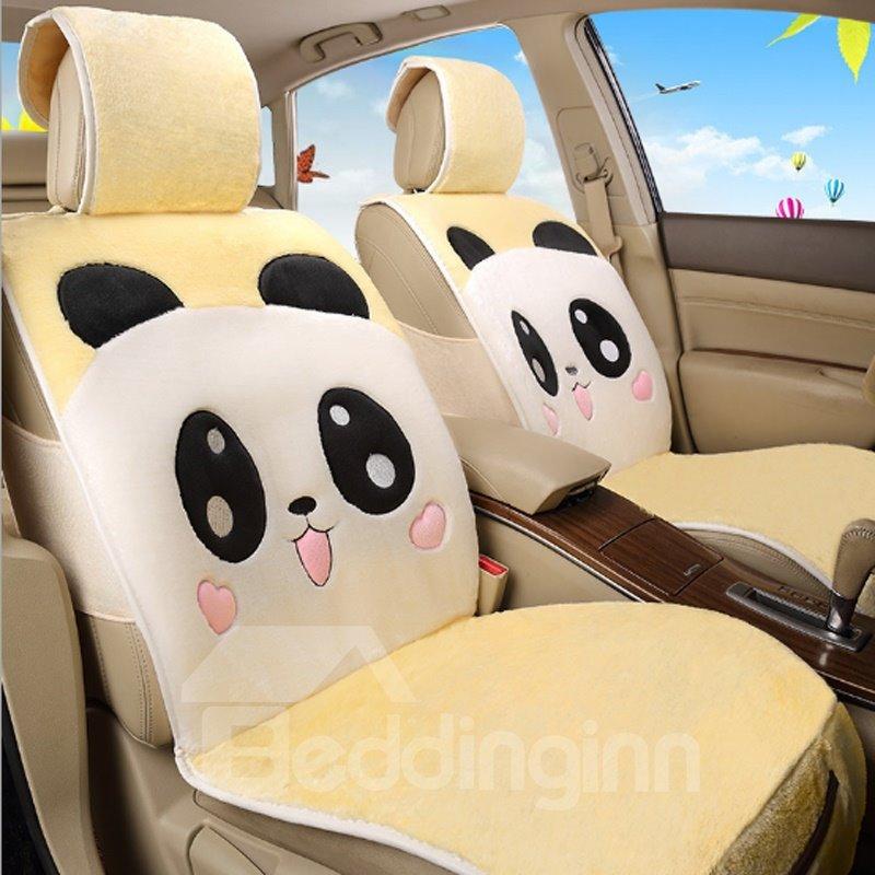 lovely panda smiling face pattern design soft short plush material universal car seat cover. Black Bedroom Furniture Sets. Home Design Ideas