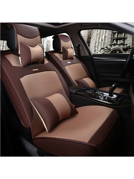 Classic Business Style Contrast Color Design Luxury Durable PET Material Universal Five Car Seat Cover