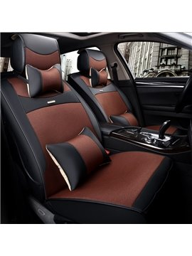 Classic Business Style Fashion Contrast Color Design Luxury Durable PET Material Universal Five Car Seat Cover