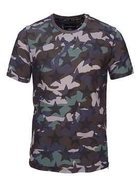 Round Neck Camouflage Pattern Side Zipper 3D Painted T-Shirt