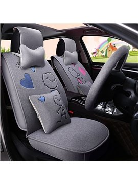 Creative Cartoon Love Theme Durable PET Material Universal Five Car Seat Cover